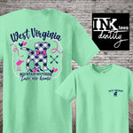 West Virginia Mountain Southern Puppy Dog Print. Southern Style Tee