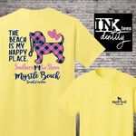 Myrtle Beach T-shirt, My Happy Place Puppy Dog Print, Southern style, Spring Break 20200