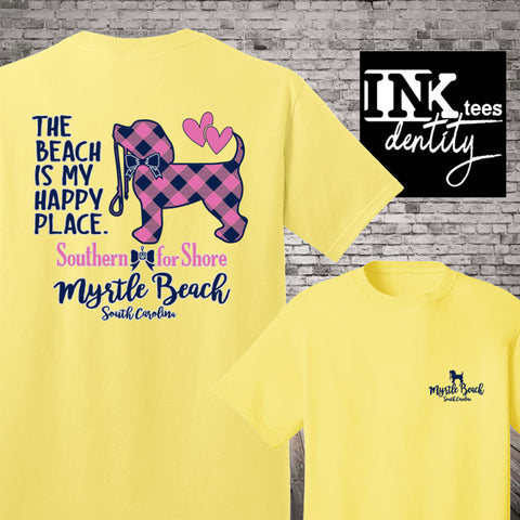 Myrtle Beach T-shirt, My Happy Place Puppy Dog Print, Southern style, Spring Break 2020