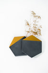 HEXAGON Black Concrete Coasters