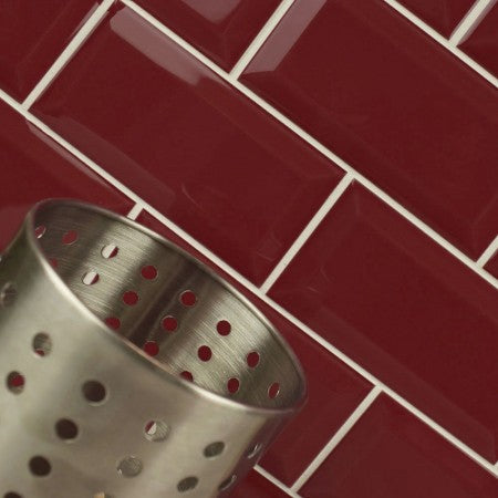 Red metro wall tiles for kitchens