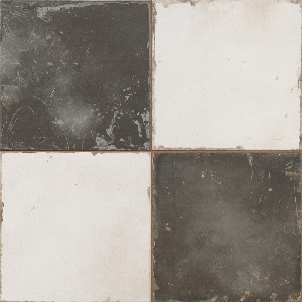 Antique Vintage-Black-&-White-Encaustic-Effect-Tile