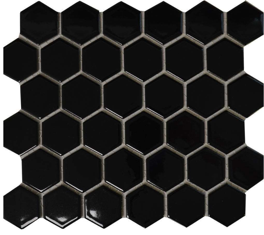 Autograph Gloss Black Hexagon Mosaic Tiles
