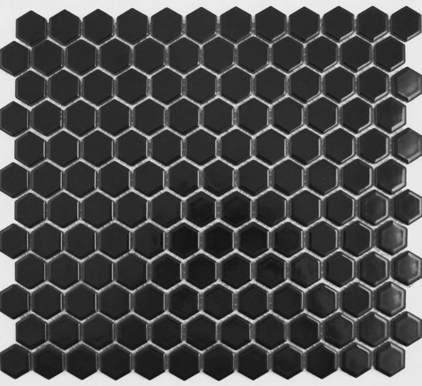 Autograph Matt Black Hexagon Mini Mosaic Tiles