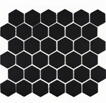 Autograph Matt Black Hexagon Mosaic Tiles