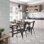 Floral Slate Grey Encaustic Tile