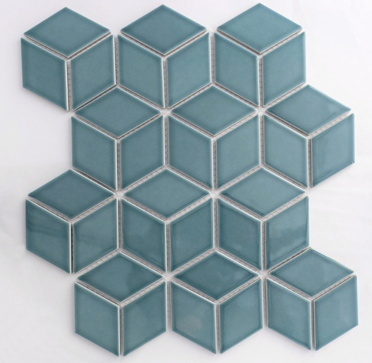 Teal Cube Effect Gloss Hexagon Mosaic Tiles