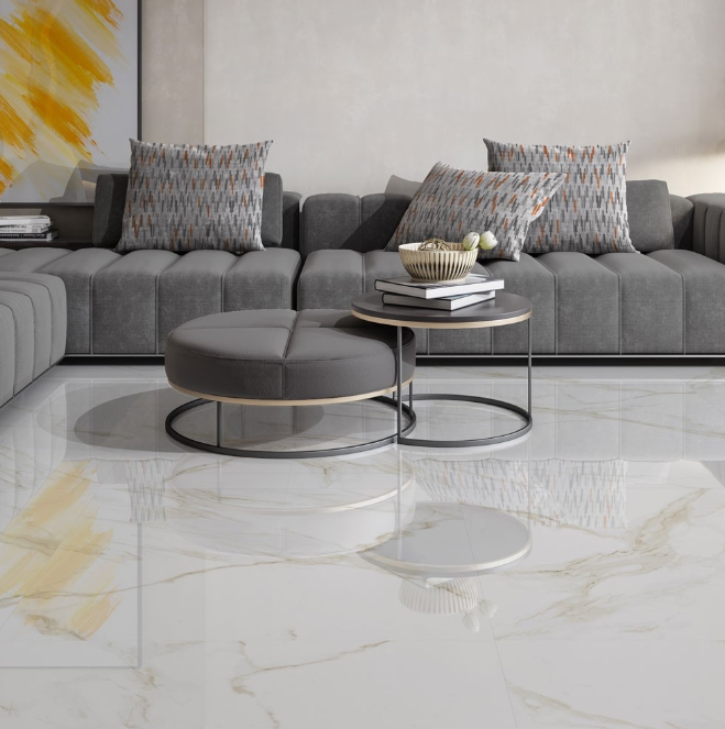 Gold Vein Gloss Marble Effect Tiles 60x60
