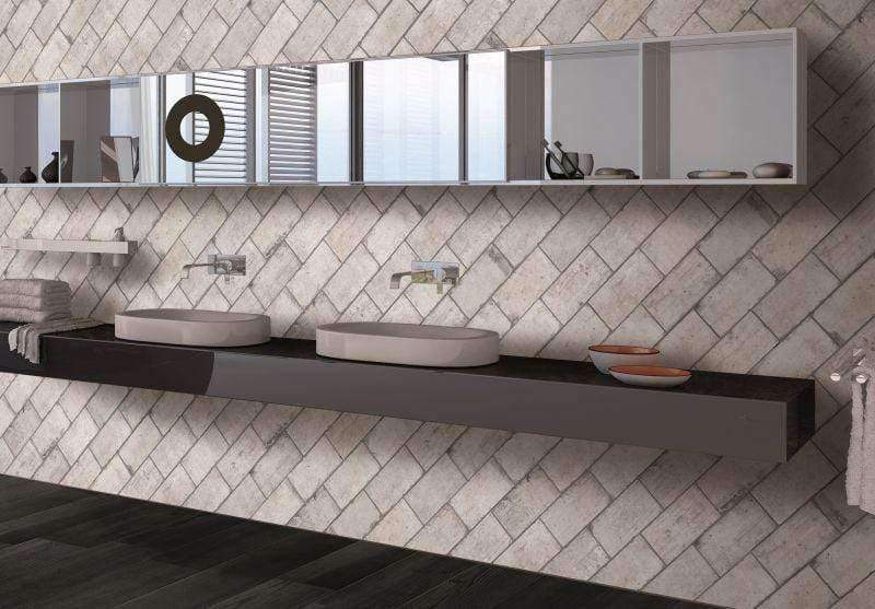 Grey Glazed Brick Effect Tile