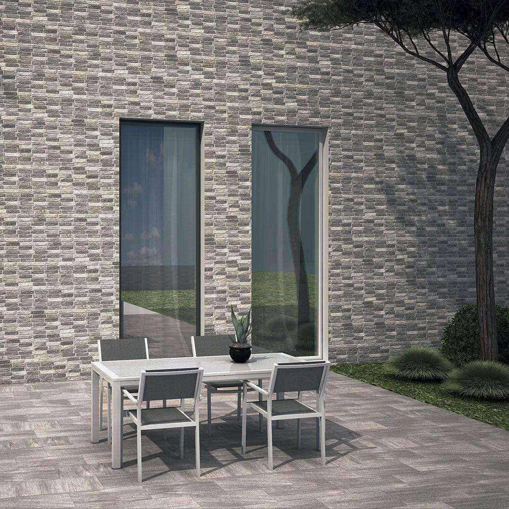 Grey interlocking Brick Tile