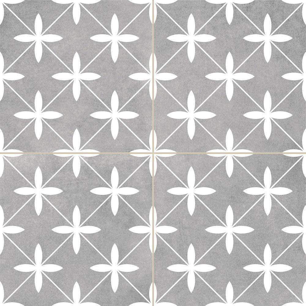 Grey Geometric Encaustic Wall & Floor Tile