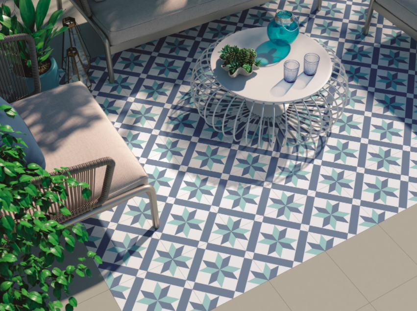 Oani Blue Star Encaustic Effect Tiles