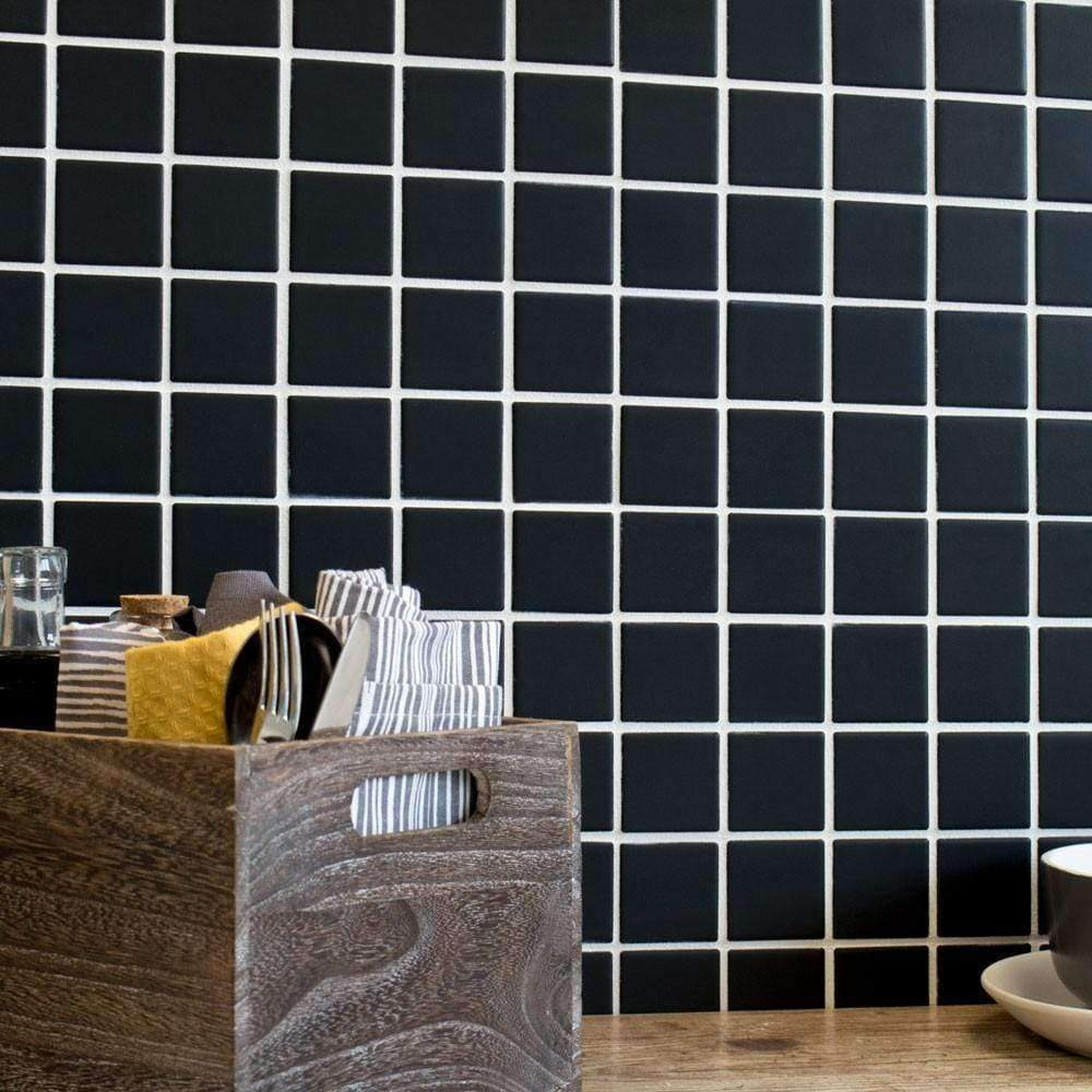 Matt Black Mosaic Tiles