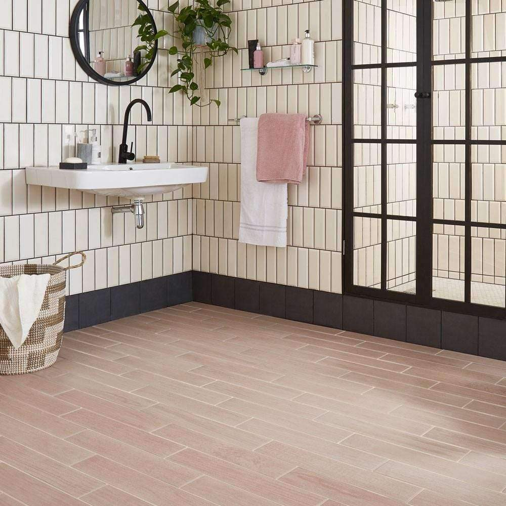 Pastel Fiftys Pink Plank Tile