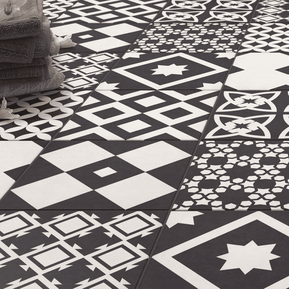 SAS Black Encaustic Patterned Tiles - Appleby's Tiles
