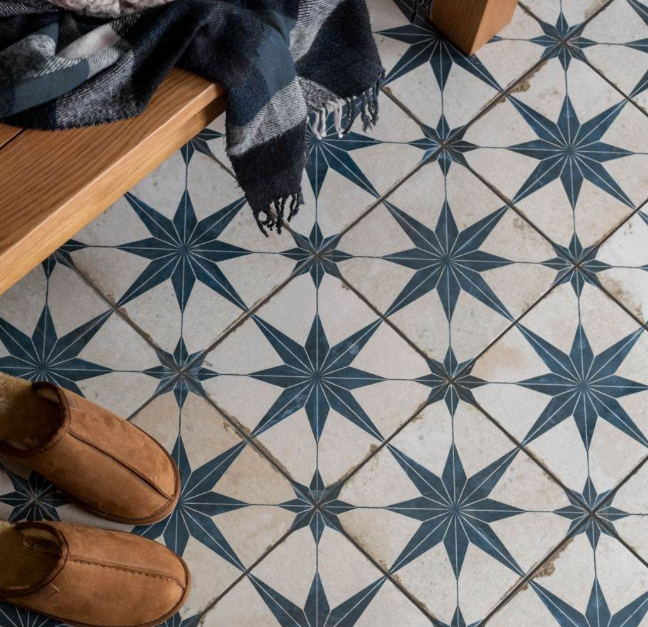 Octagram Blue Heritage Encaustic Wall & Floor Tile