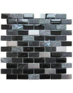 Talea Black Glass, Metal and Stone Mosaics