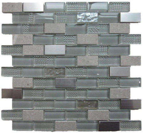 Talea Grey Glass, Metal and Stone Mosaics - Appleby's Tiles