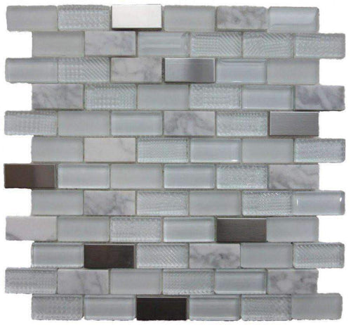 Talea White Glass, Metal and Stone Mosaics - Appleby's Tiles