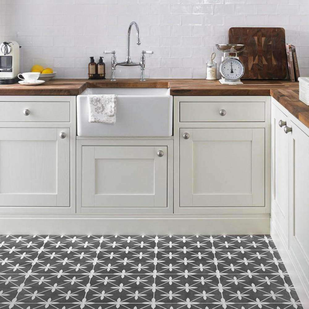 Dark Leaf Encaustic Effect Tiles. - Appleby's Tiles