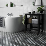 Vintage Black London Encaustic Effect Tile