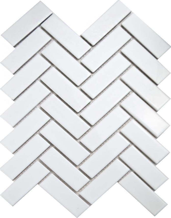 Autograph Gloss White Herringbone Mosaic Tiles