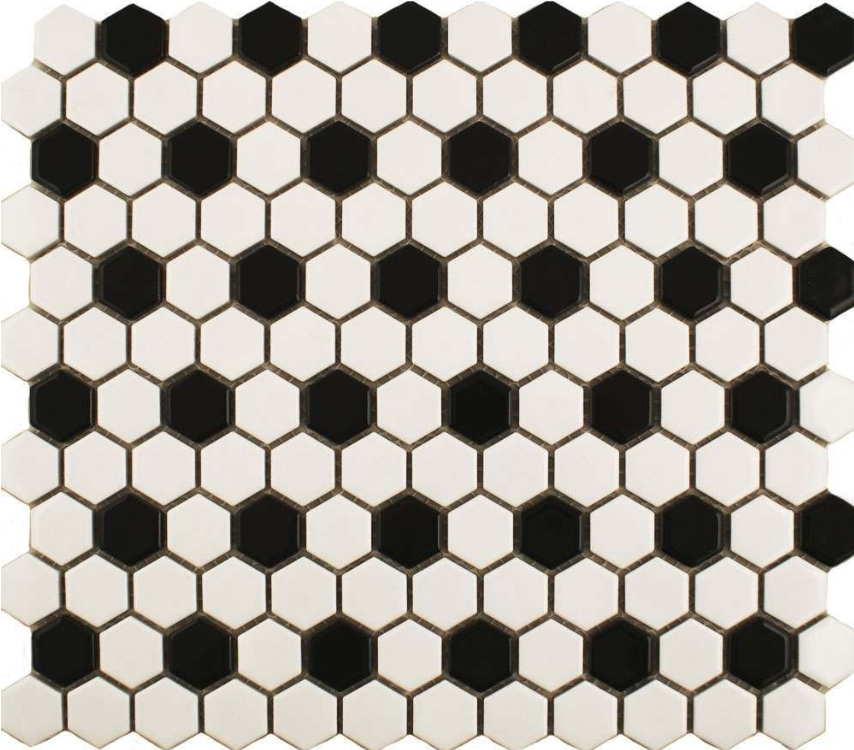 Autograph Matt Chequer Black And White Hexagon Mini Mosaic Tiles