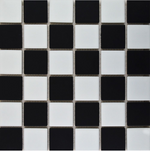 Autograph Matt Chequer Black And White Square Mosaic Tiles