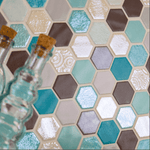 Bayswater Mix Glass Hexagon Mosaic Tiles