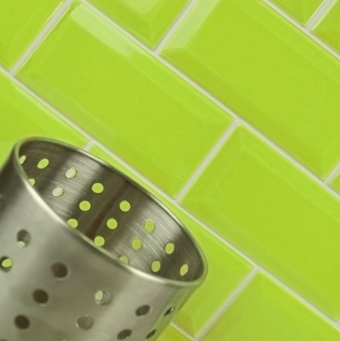 Bevelled Lime Metro Wall Tiles