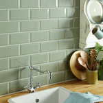Bevelled Sage Green Metro Wall Tiles