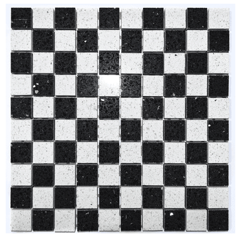 Black And White Chequer Quartz Mosaic Tiles