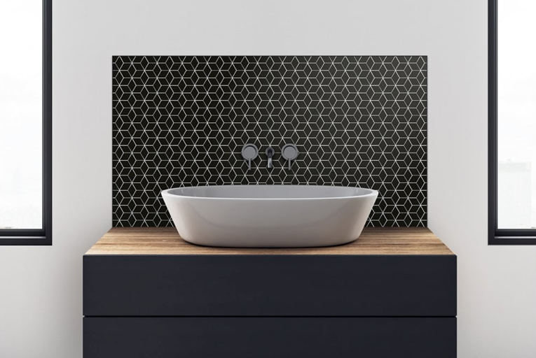 Black Cube Effect Gloss Hexagon Mosaic Tiles