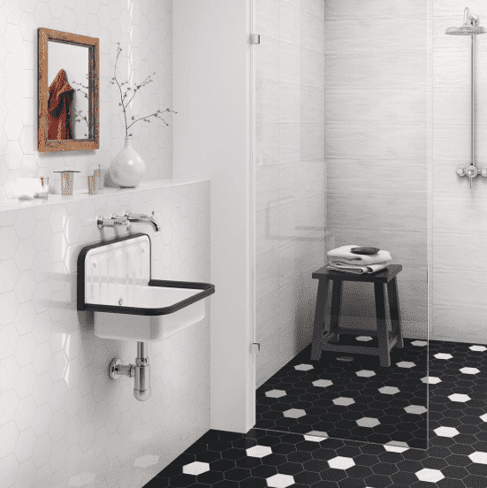 Black Mini Matt Porcelain Hexagon Tiles