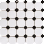 Black Octagon Mosaic Tiles