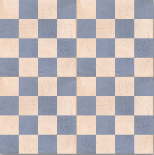 Blue And White Chessboard Encaustic Effect Tile