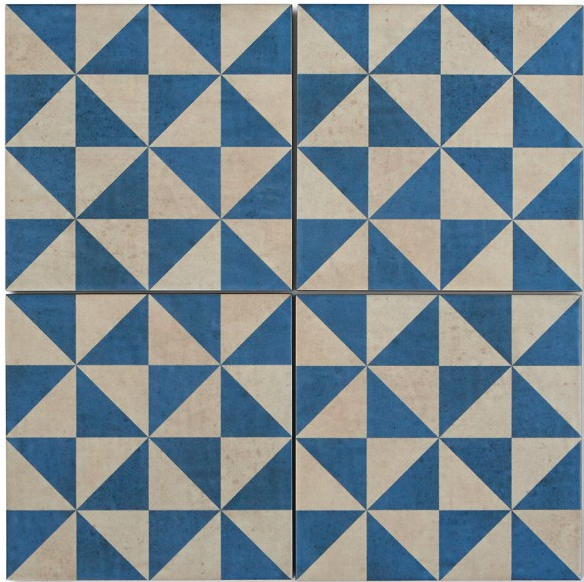 Blue And White Triangle Pattern Encaustic Effect Tile