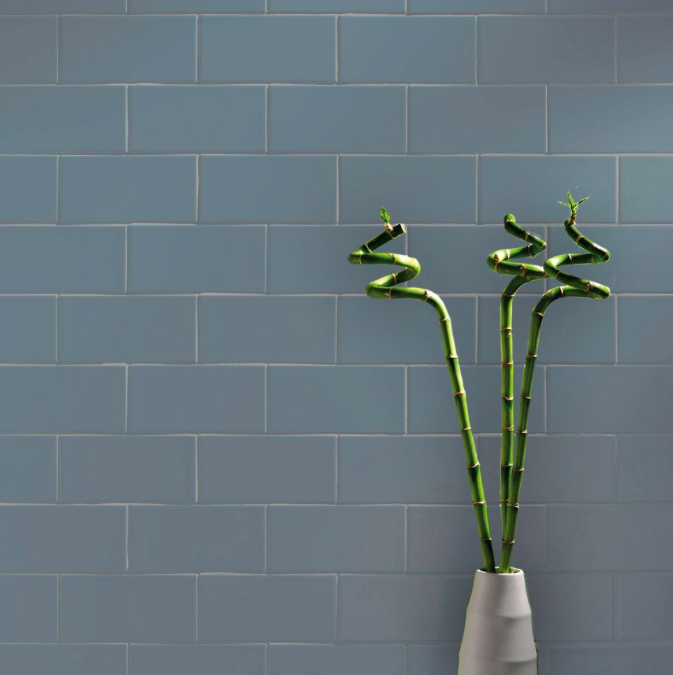 Blue Grey Smooth 20 x 10 Metro Wall Tiles