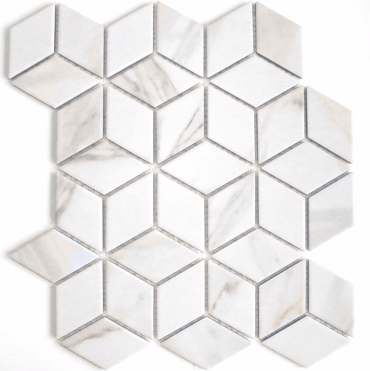 Calacatta Effect Cube Matt Hexagon Mosaic Tiles