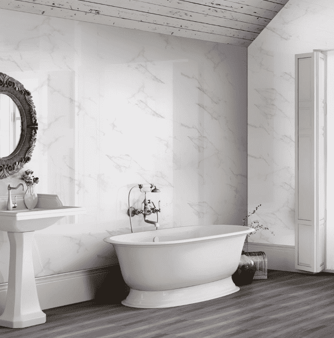 Calacatta Gloss White Veined Marble Effect Tiles