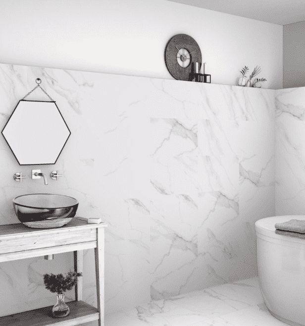 Calacatta Matt White Veined Marble Effect Tiles