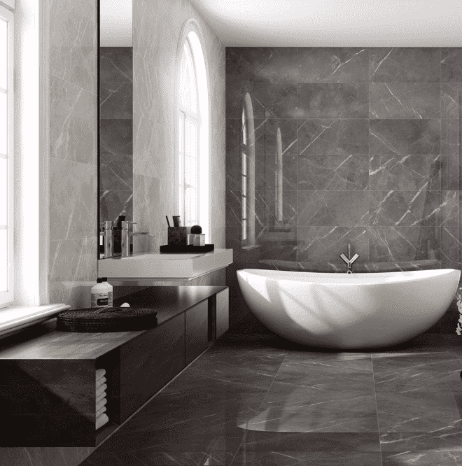 Capella Large Grey Matt 75 x 75 Marble Effect Tiles