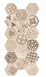 Cement Beige Encaustic Effect Hexagon Tiles