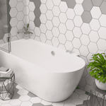 Chequer White Hexagon Tiles