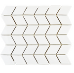 Chevron White Gloss Mosaic Tiles