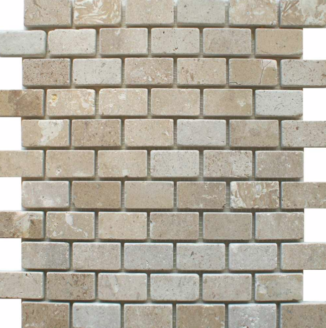 Chia Brick Effect Cream Mosaic Tiles