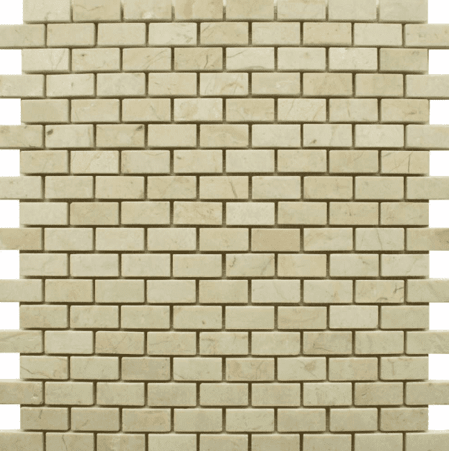 Chia Brick Effect Mini Polished Ivory Mosaic Tiles