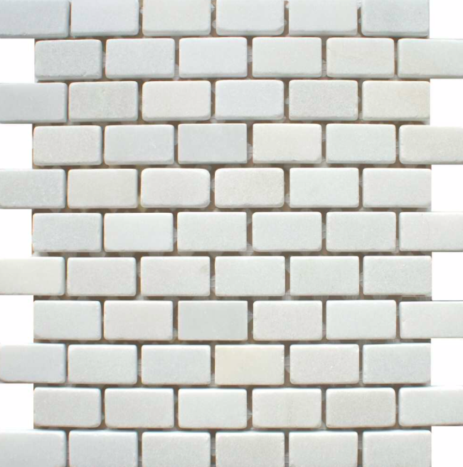 Chia Brick Effect White Mosaic Tiles