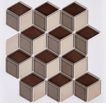 Coffee Brown Cube Effect Gloss Hexagon Mosaic Tiles