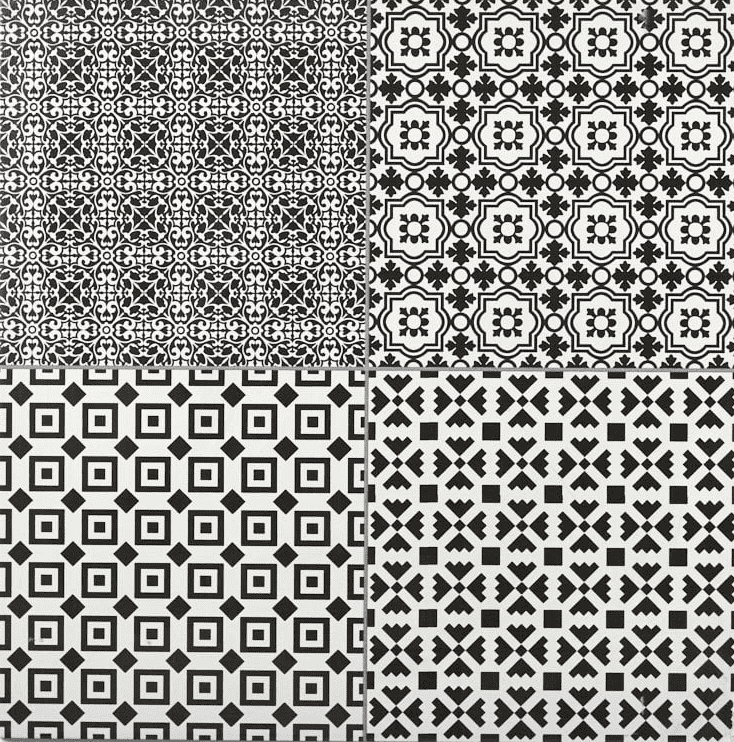 Collage Monochrome Textile Patterned Tile